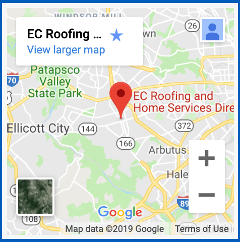 close up of ec roofing pinned on google maps