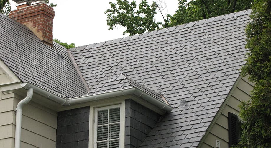 close up of a shingle roof