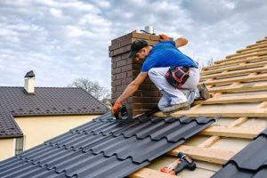 man installs roof in an area we serve